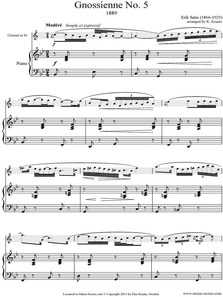 Front page of Gnossienne: No. 5: Clarinet, Piano sheet music