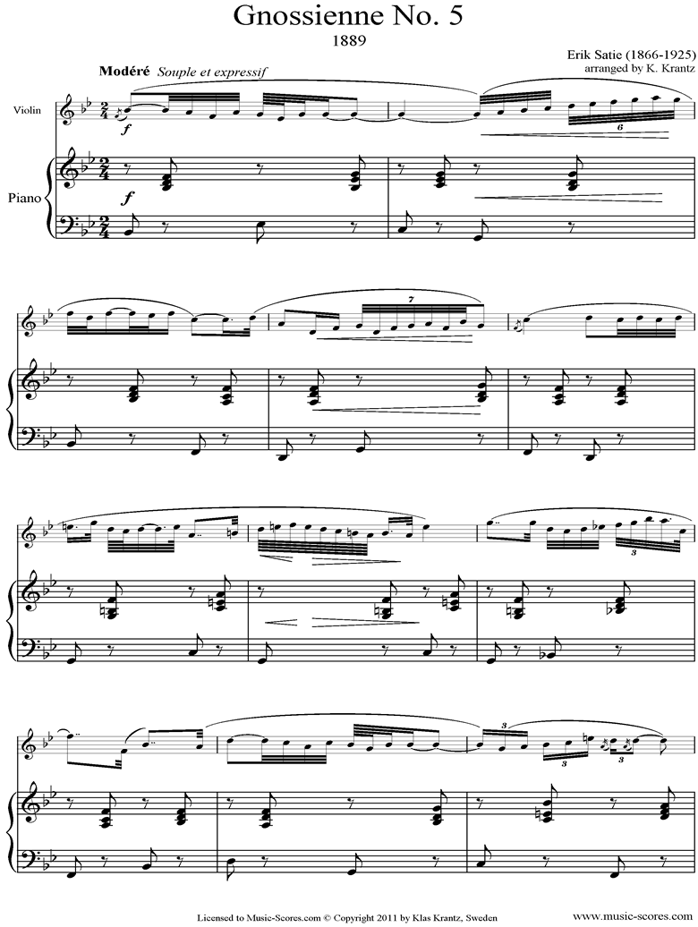 Front page of Gnossienne: No. 5: Violin, Piano sheet music