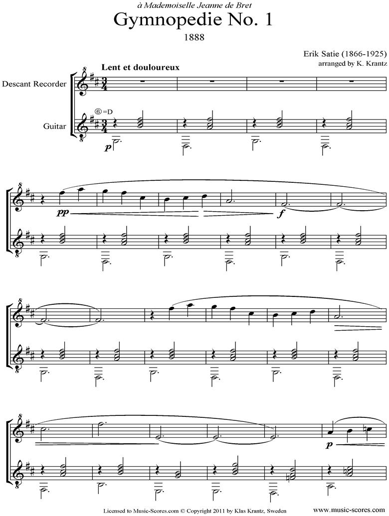 Gymnop�die: No.1: Descant Recorder, Guitar by Satie