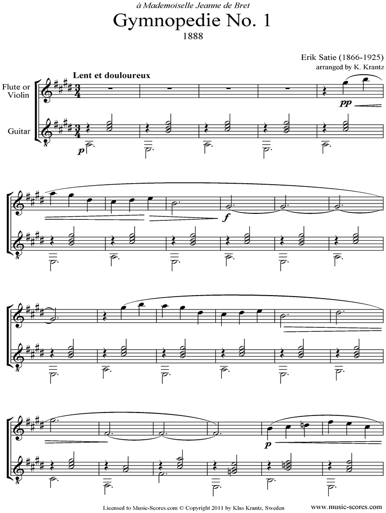 Front page of Gymnopédie: No.1: Flute, Guitar: E ma sheet music