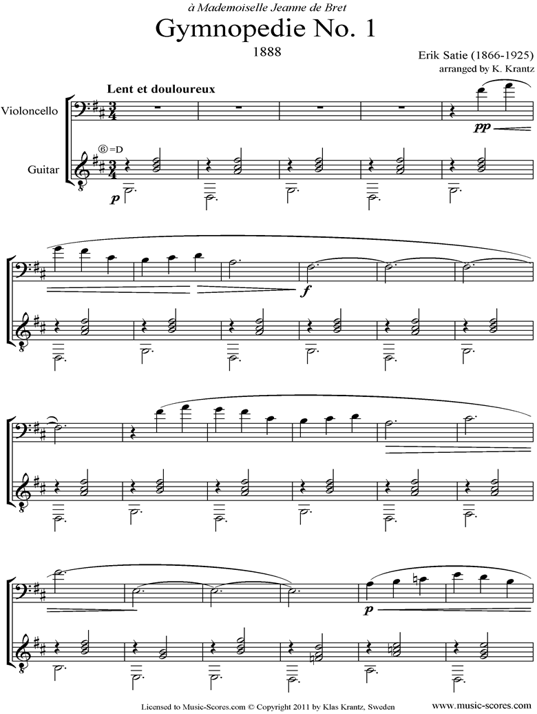 Front page of Gymnopédie: No.1: Cello, Guitar sheet music