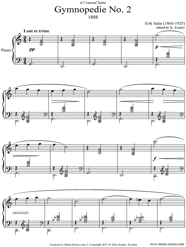 Front page of Gymnopédie: No.2: Piano sheet music