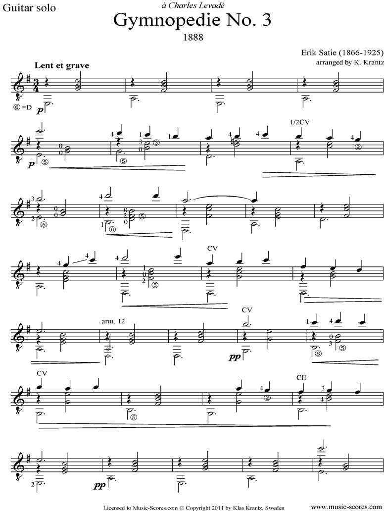 Front page of Gymnopédie: No.3: Guitar sheet music
