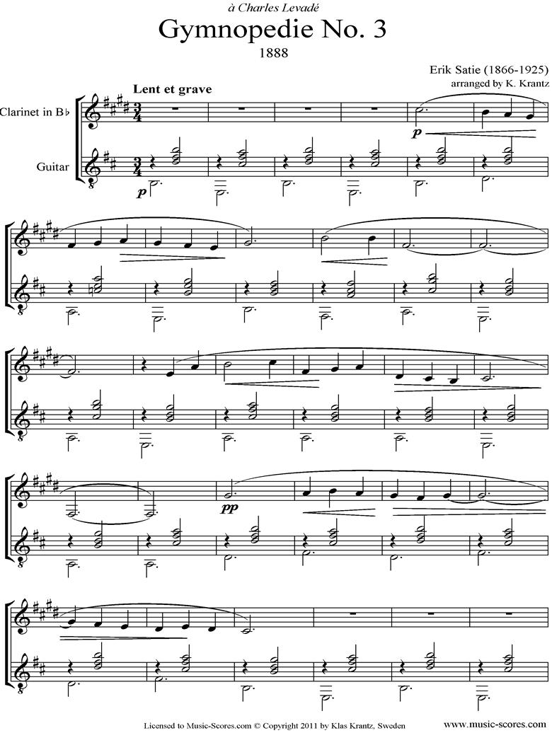 Gymnop�die: No.3: Clarinet, Guitar by Satie