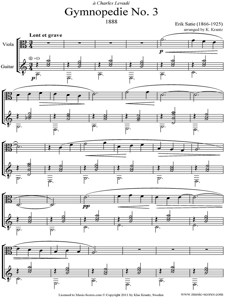 Front page of Gymnopédie: No.3: Viola, Guitar sheet music