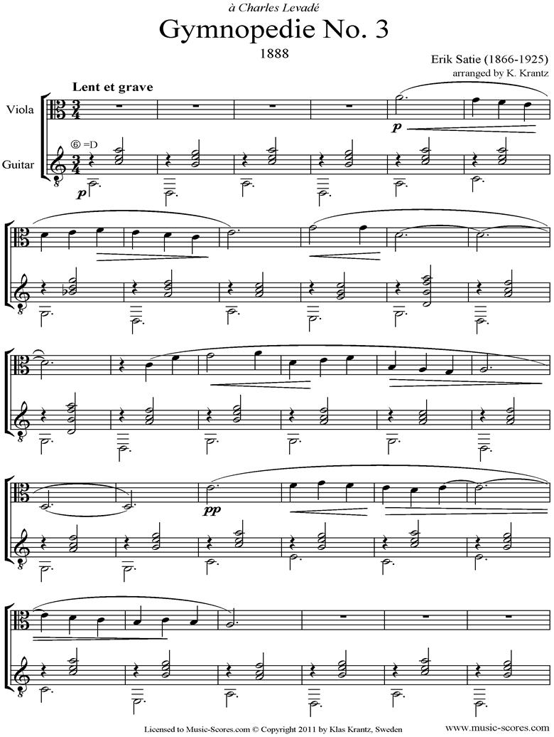 Gymnop�die: No.3: Viola, Guitar by Satie