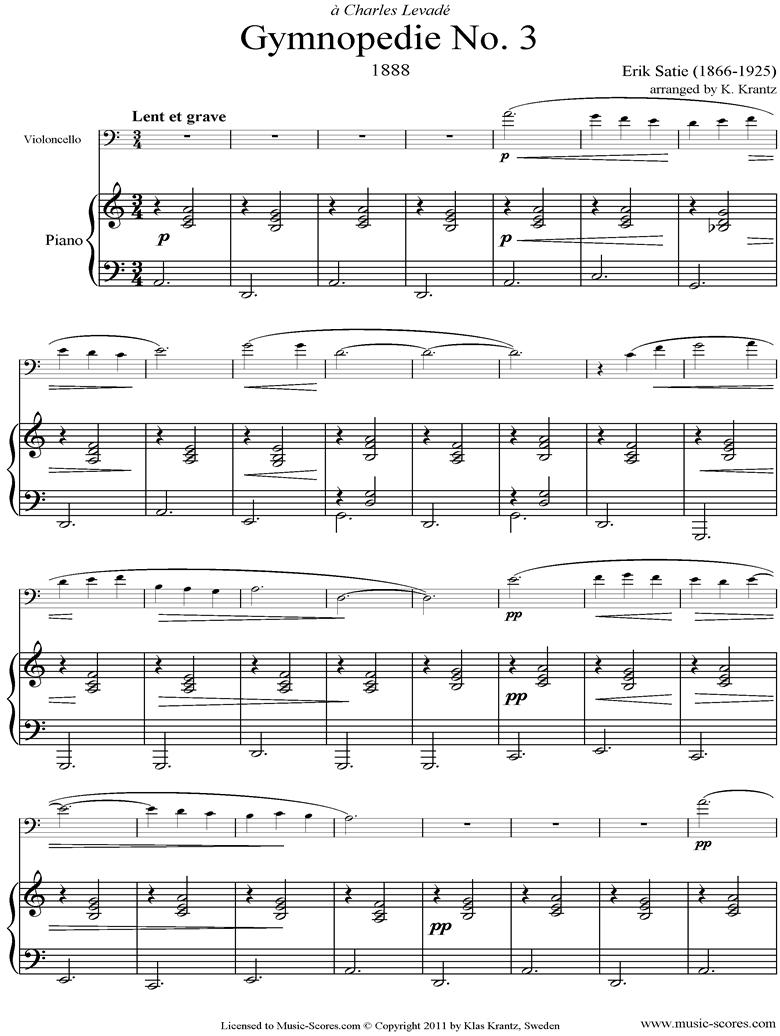 Gymnop�die: No.3: Cello, Piano by Satie