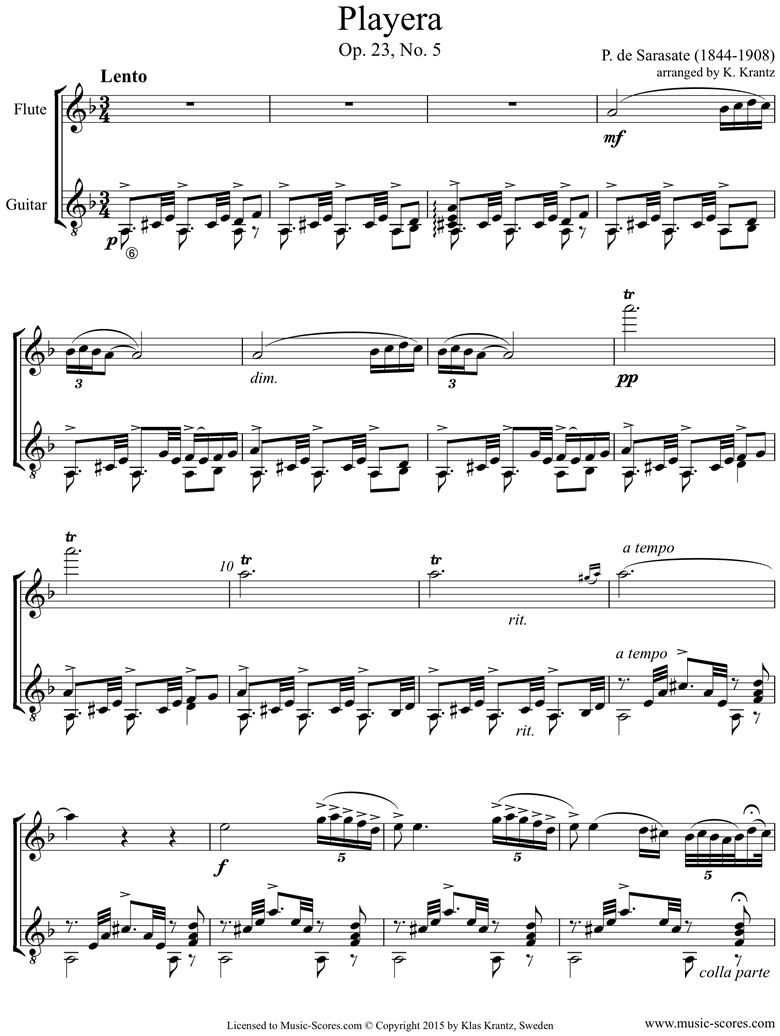 Front page of Op.23, No.5: Playera: Flute, Guitar sheet music