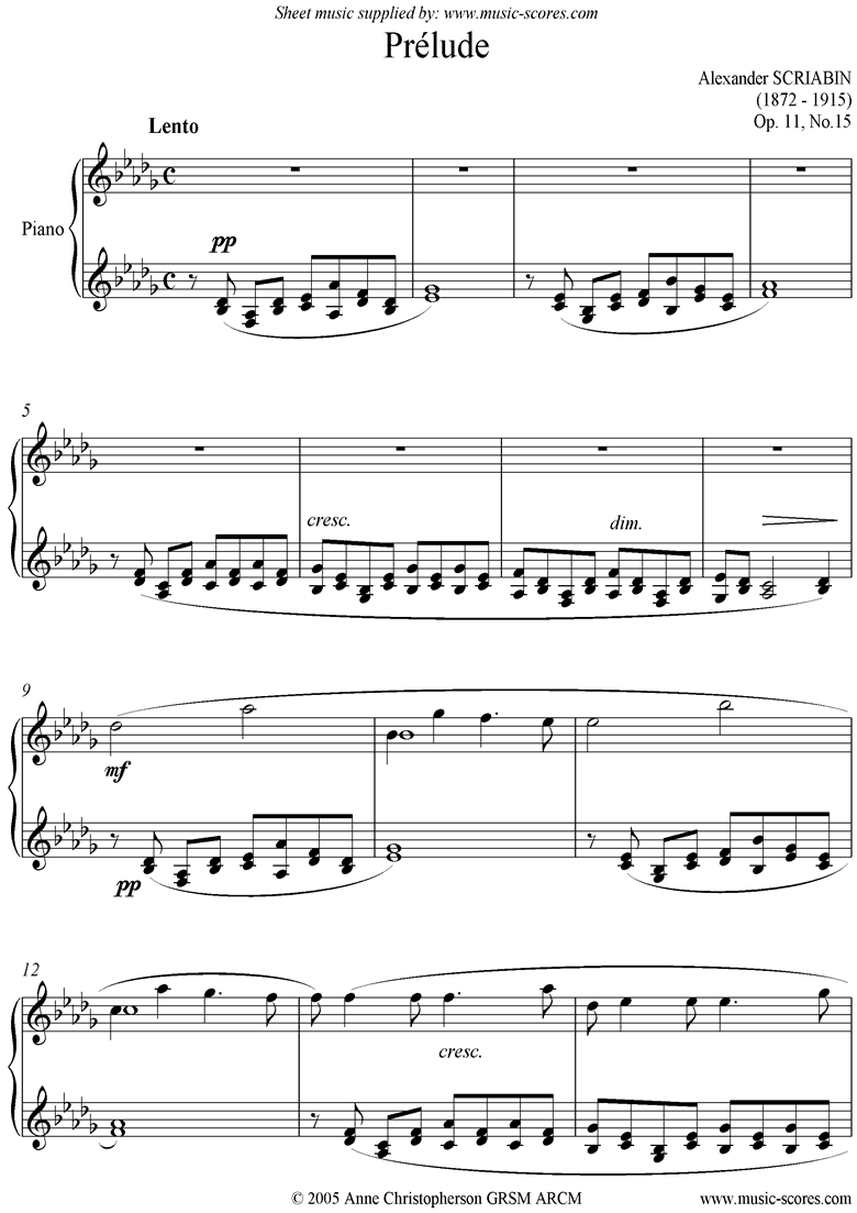 Front page of Op.11, No.15: Prelude sheet music