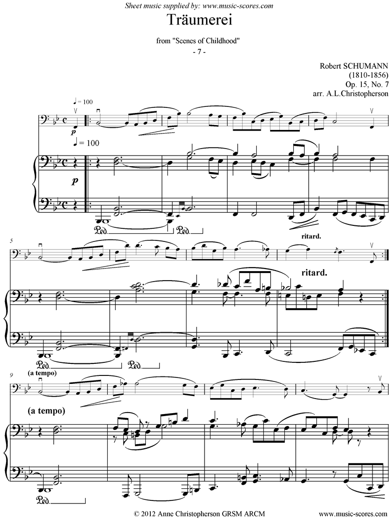 Front page of Op.15: Scenes from Childhood: 07 Dreaming: Double bass sheet music