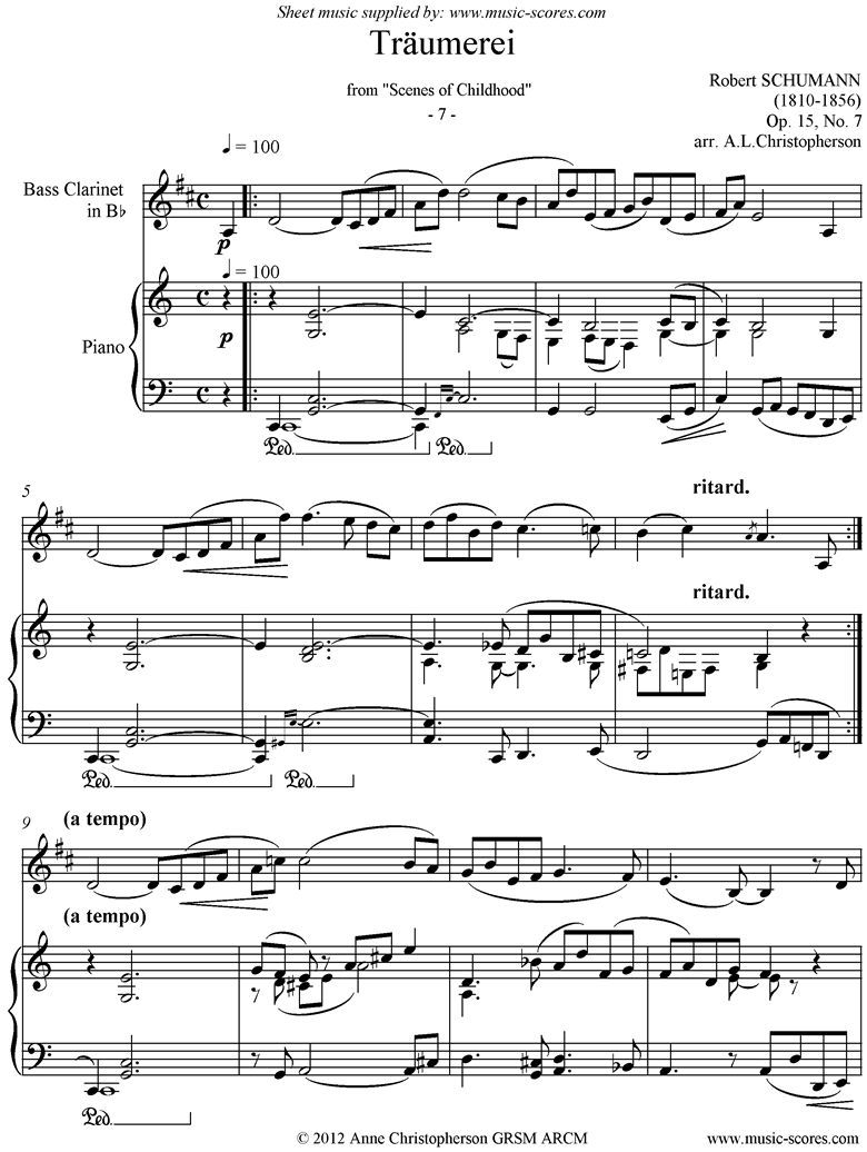 Front page of Op.15: Scenes from Childhood: 07 Dreaming: Bass Cl: easier sheet music