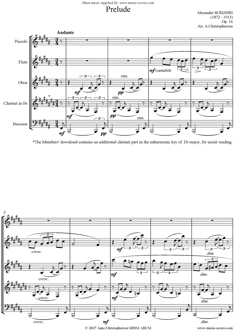 Front page of Op.16, No.1: Prelude: Wind Quintet sheet music