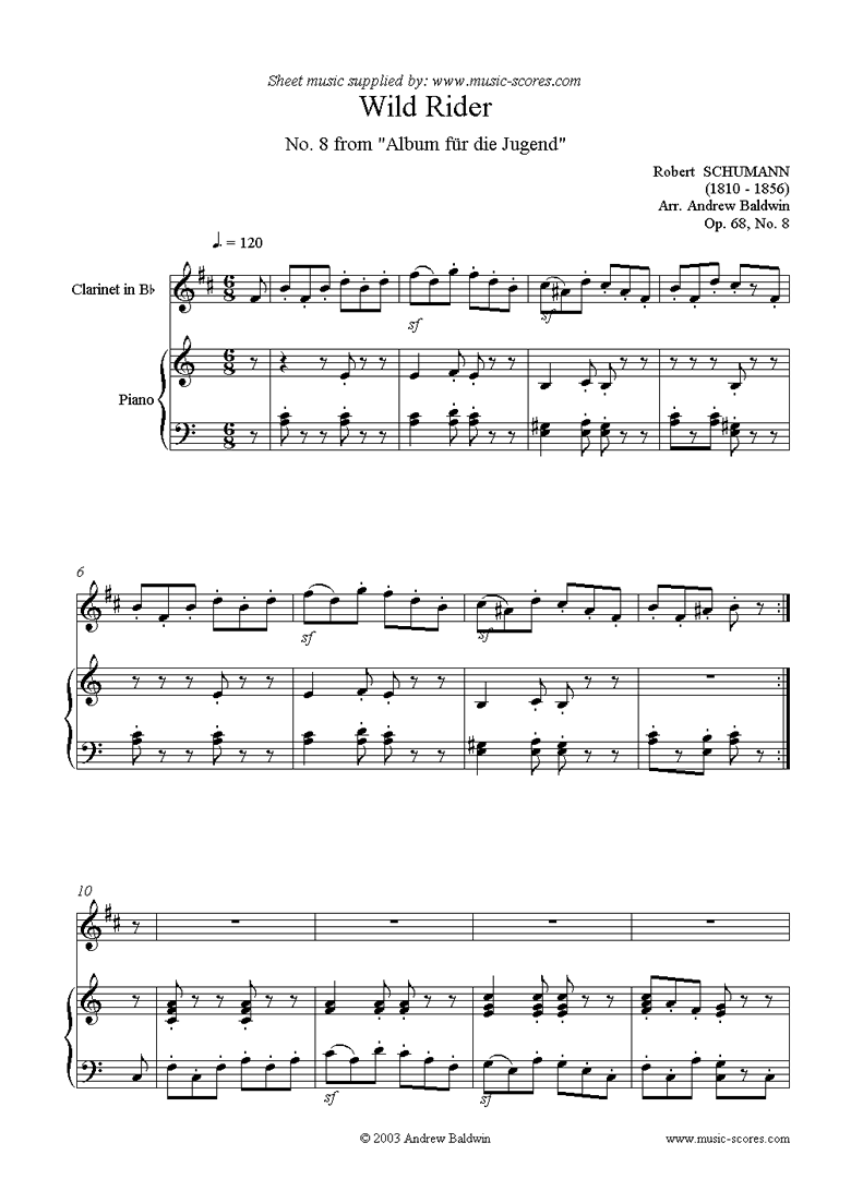 Front page of Op.68: Album for the Young: No.08: Wild Rider sheet music