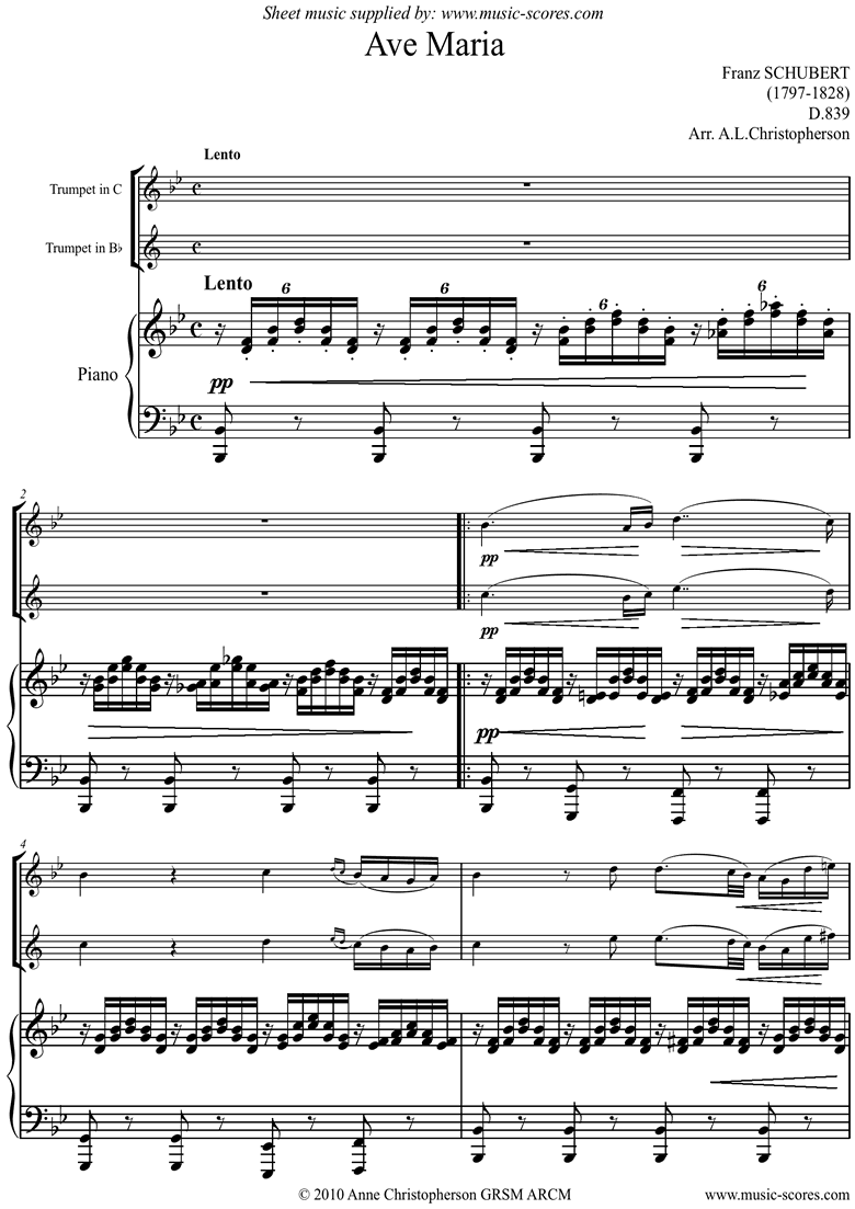 Front page of Ave Maria: Trumpet sheet music
