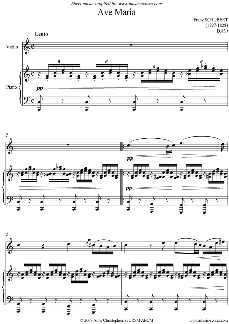 Front page of Ave Maria: Violin sheet music