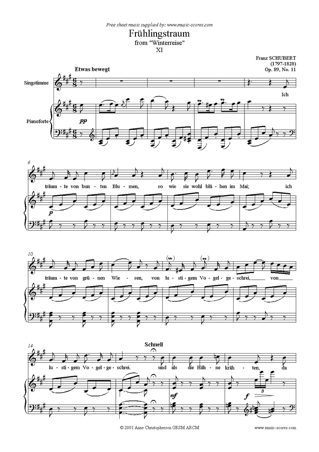 Front page of Winterreise, Op. 89: 11 Frühlingstraum sheet music