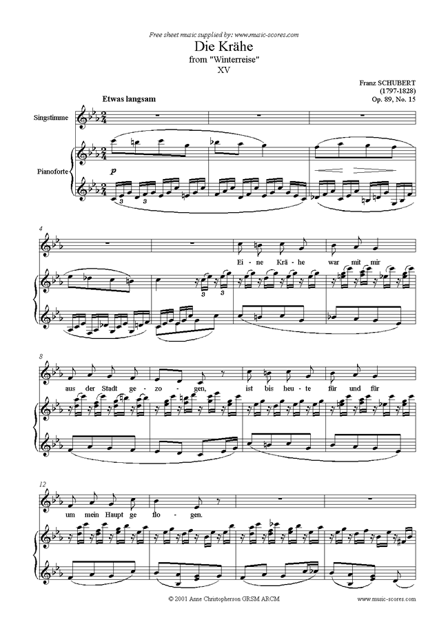 Front page of Winterreise, Op. 89: 15 Die Krähe sheet music