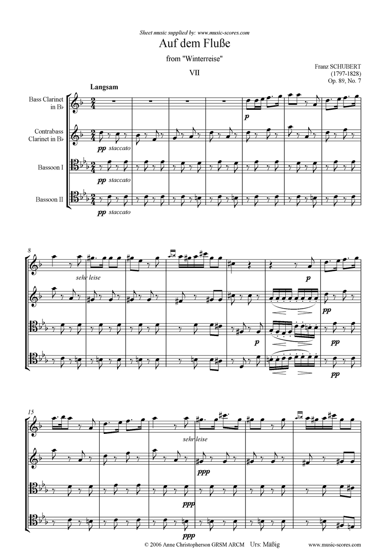 Front page of Winterreise, Op. 89: Auf dem Flusse: Low reed_2_2 sheet music