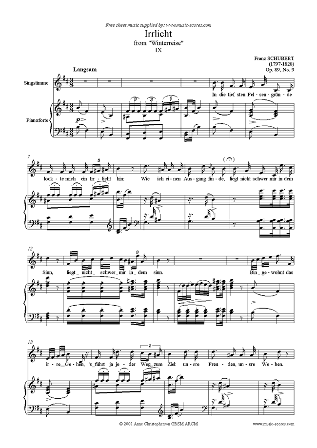 Front page of Winterreise, Op. 89: 09 Irrlicht sheet music