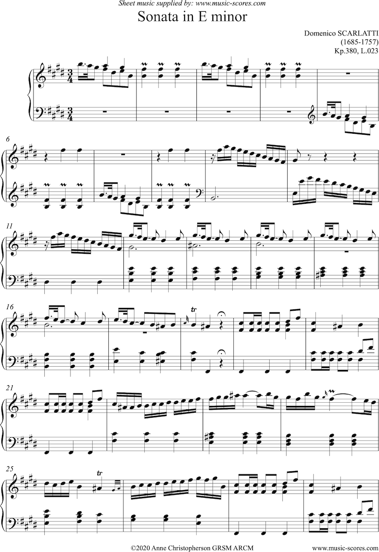 Front page of Kp.380, L.023: Sonata in E: Piano sheet music