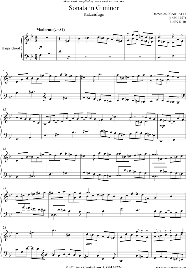 Front page of Kp.030, L.499: Katzenfugue from Sonata in G minor: Harpsichord sheet music