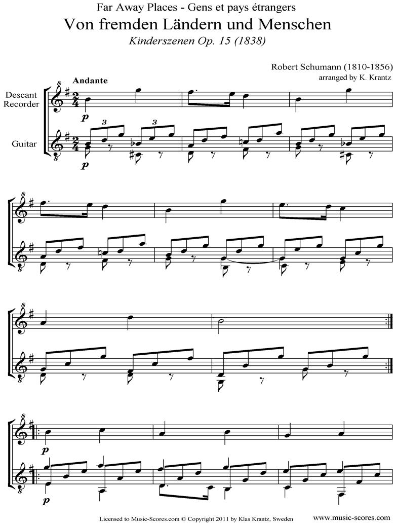 Op.15: Scenes from Childhood: 01 Of Strange Lands: Descant Recorder, Guitar by Schumann