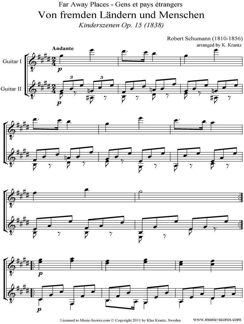 Op.15: Scenes from Childhood: 01 Of Strange Lands: Guitar Duet by Schumann