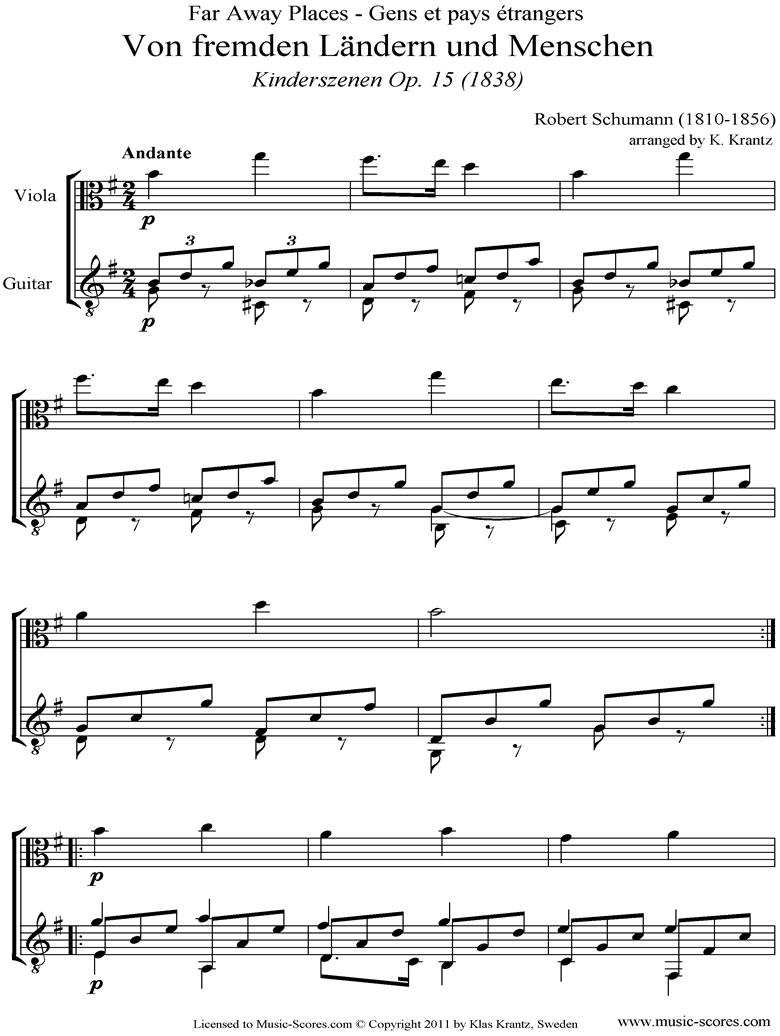 Op.15: Scenes from Childhood: 01 Of Strange Lands: Viola, Guitar by Schumann
