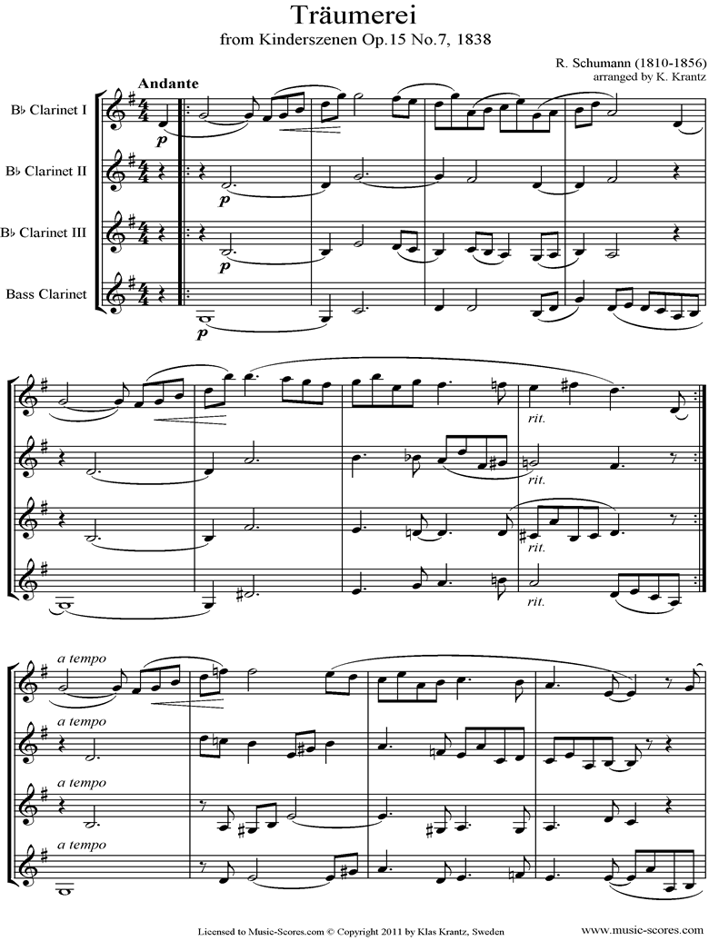 Op.15: Scenes from Childhood: 07 Dreaming: Clarinet 4 by Schumann