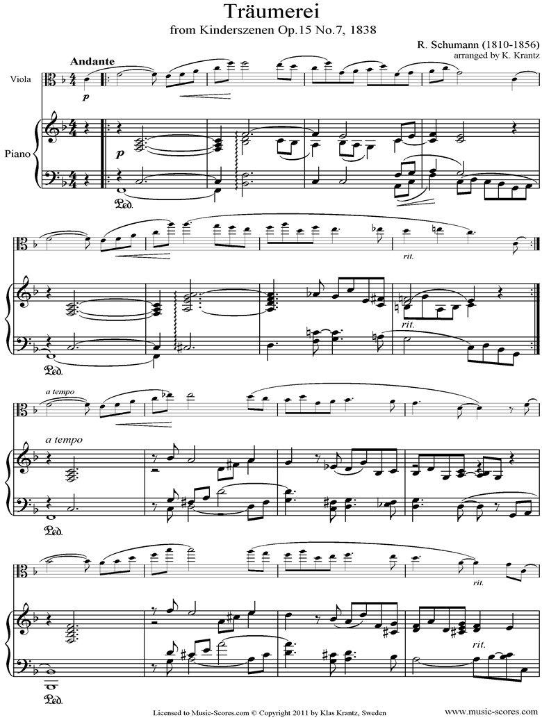 Op.15: Scenes from Childhood: 07 Dreaming: Viola, Piano by Schumann
