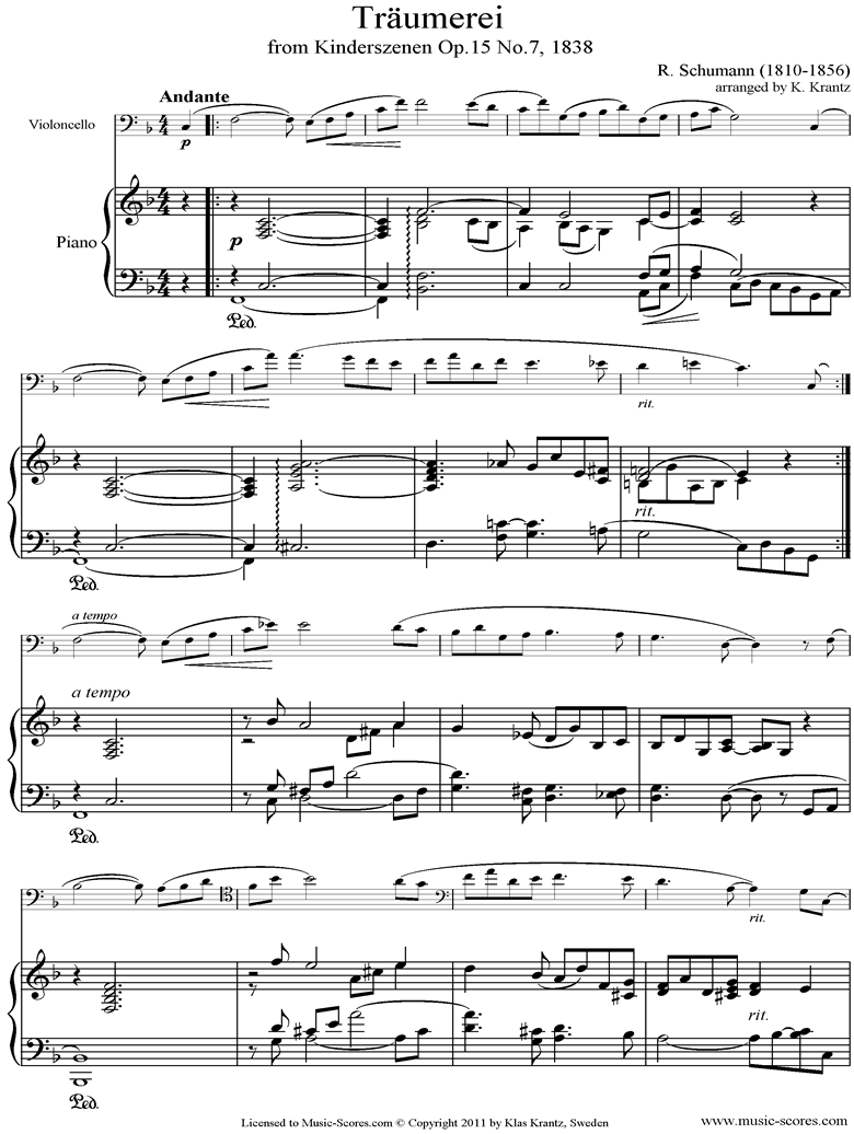 Op.15: Scenes from Childhood: 07 Dreaming: Cello, Piano by Schumann
