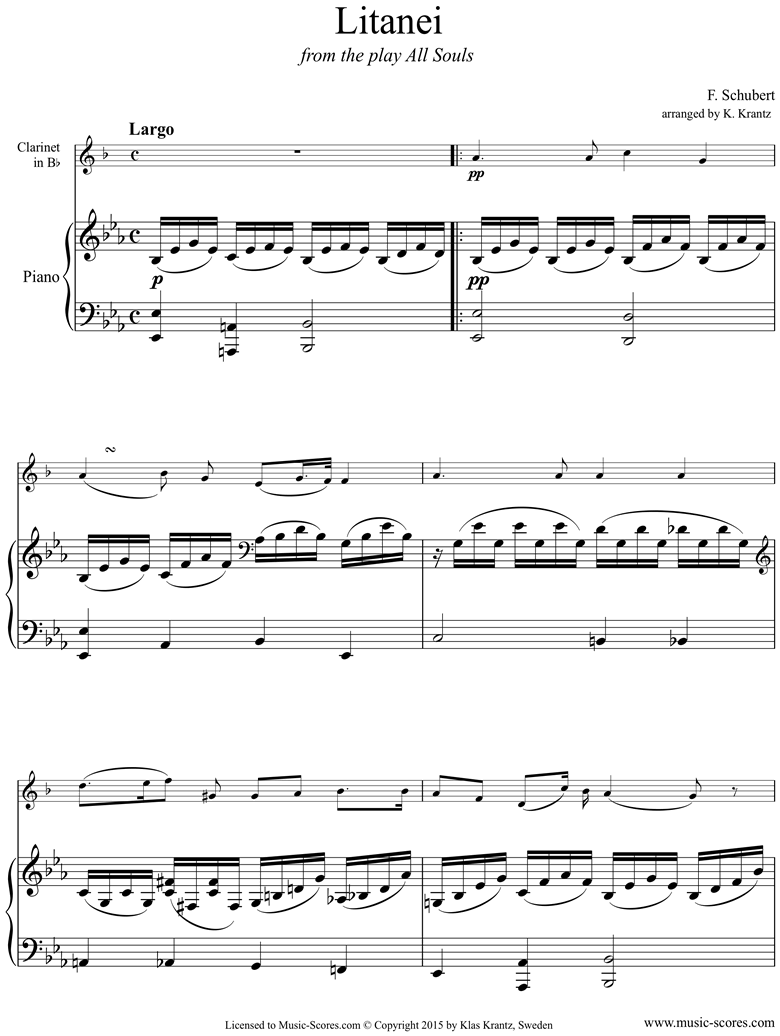 Front page of Litany, D343: Clarinet, Piano sheet music