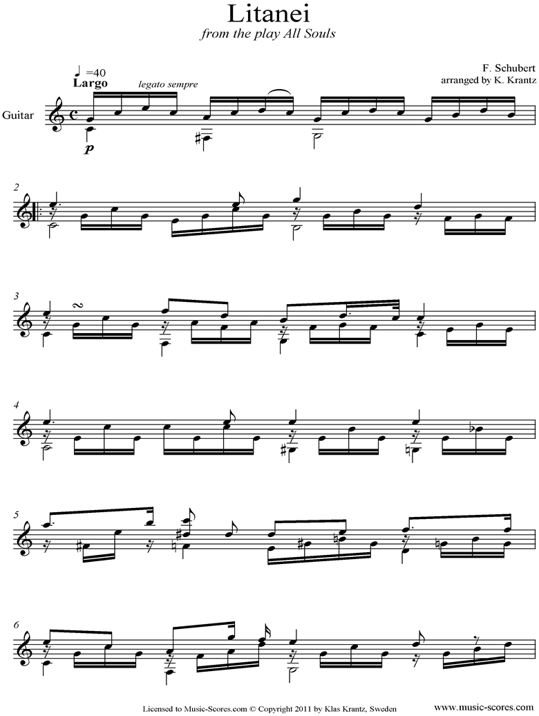 Front page of Litany, D343: Guitar  sheet music