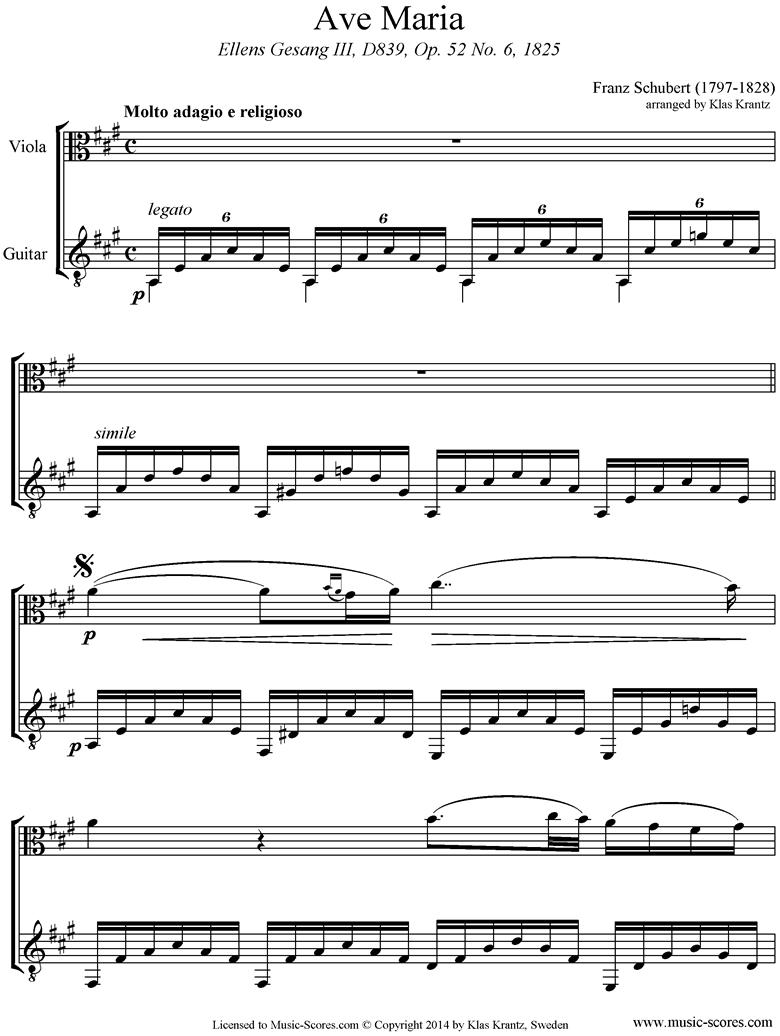 Ave Maria: Viola, Guitar, A ma by Schubert