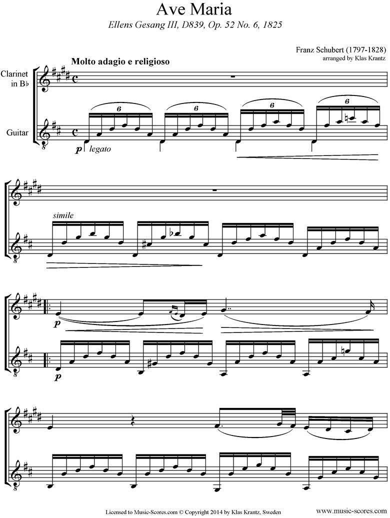 Ave Maria: Clarinet, Guitar by Schubert