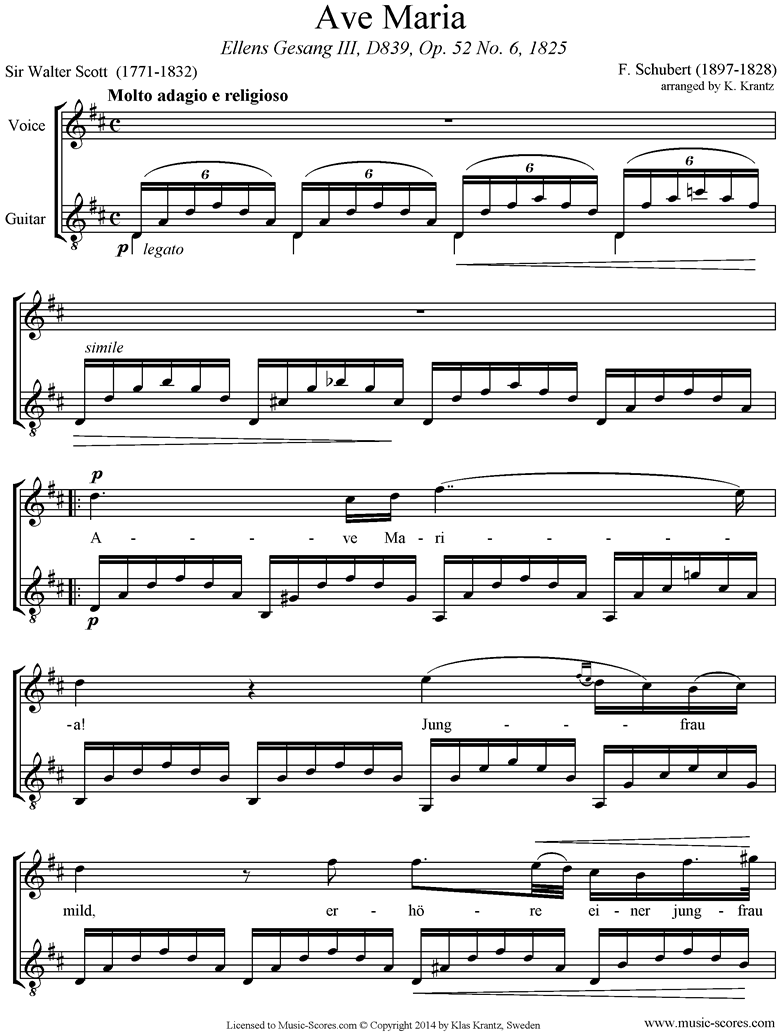 Ave Maria: Voice, Guitar, D ma by Schubert