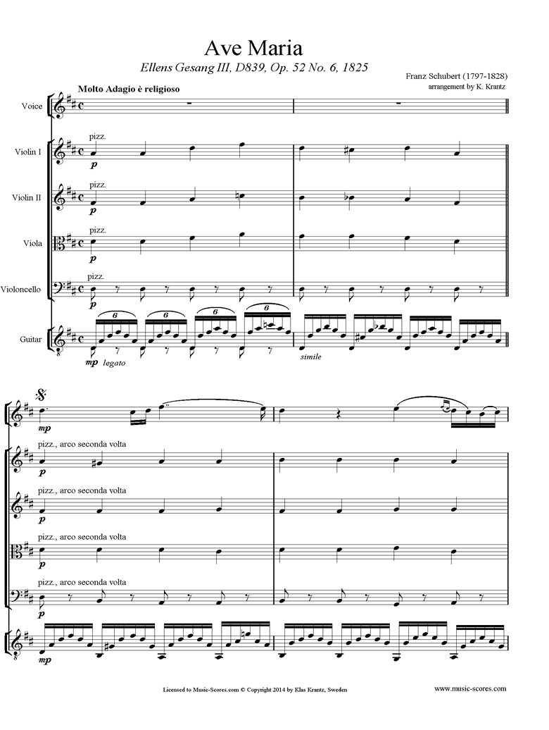 Front page of Ave Maria: Voice, String Quartet, Guitar sheet music