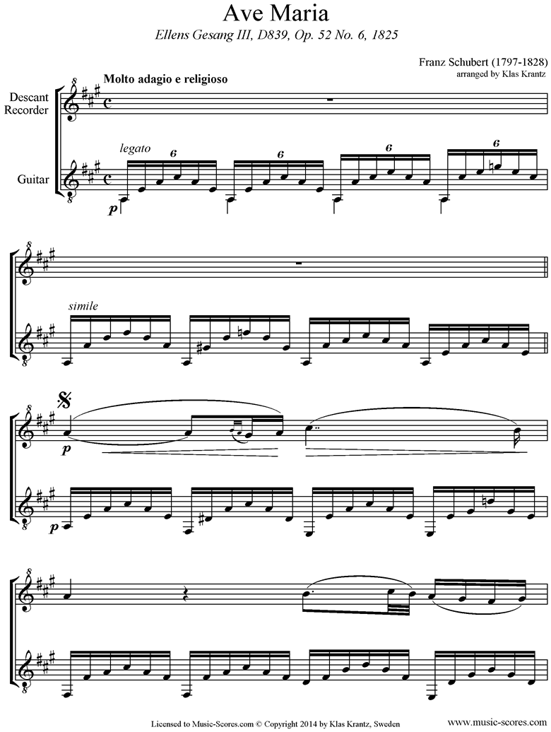 Front page of Ave Maria: Descant Recorder, Guitar sheet music