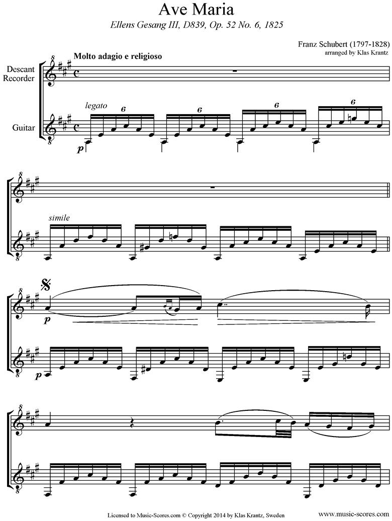 Ave Maria: Descant Recorder, Guitar by Schubert