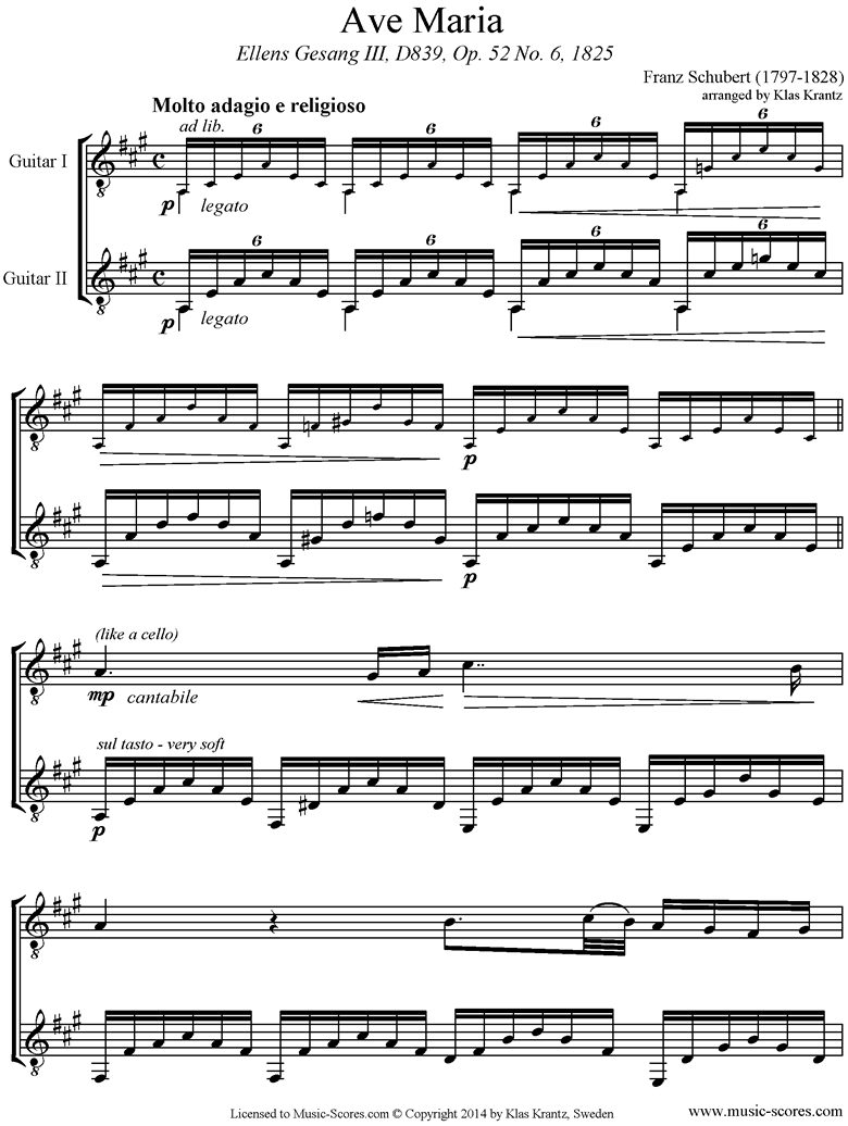 Front page of Ave Maria: 2 Guitars sheet music
