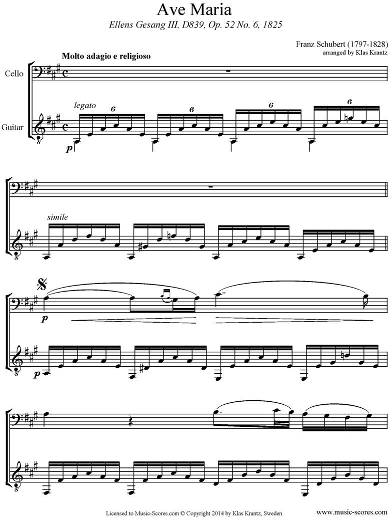 Ave Maria: Cello, Guitar by Schubert