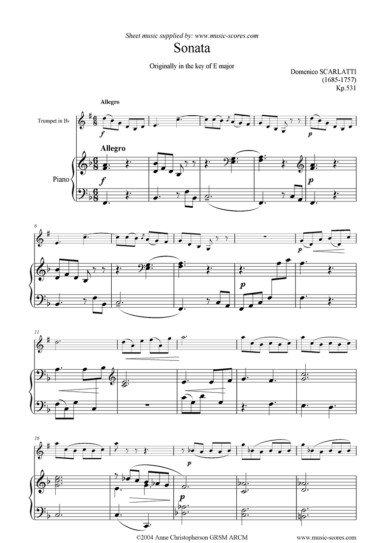 Front page of Kp.531:Sonata for trumpet sheet music