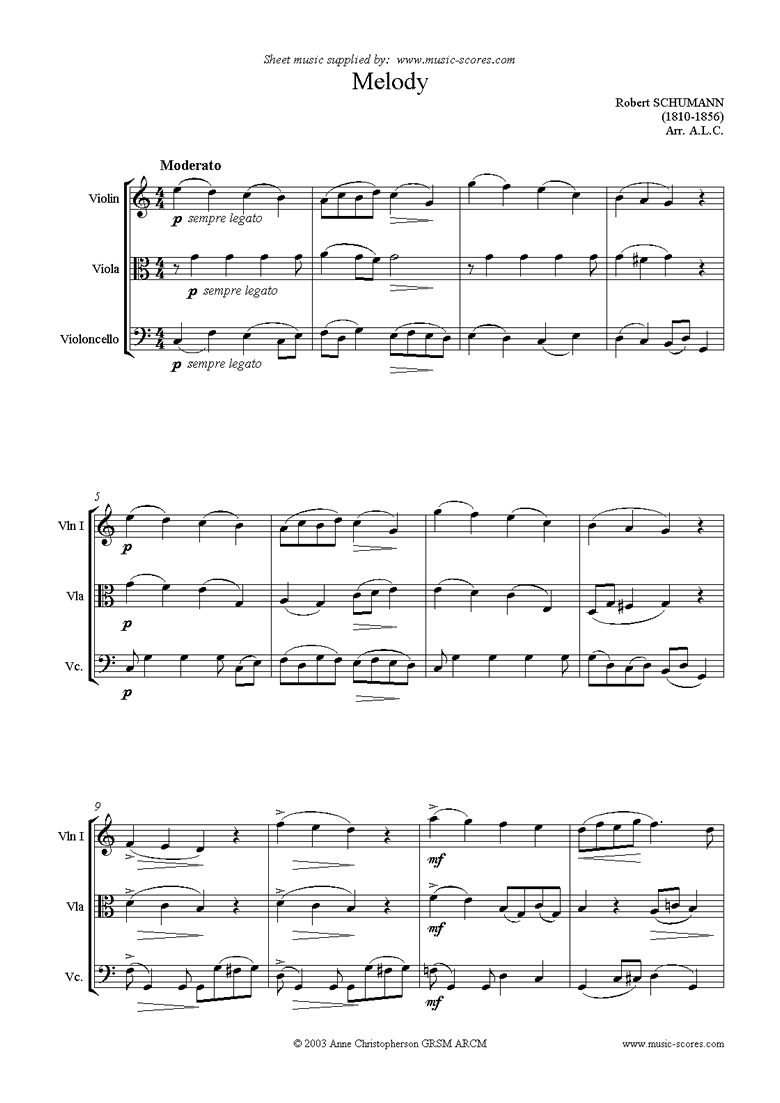 Front page of Melody: string trio sheet music