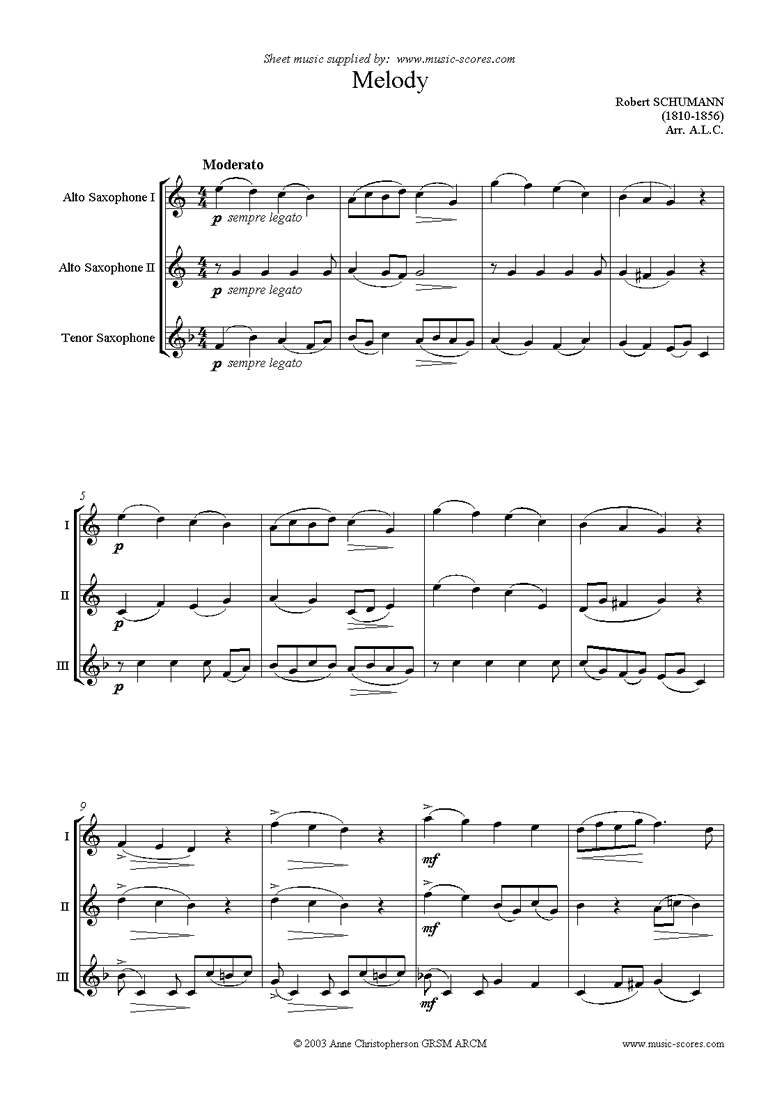 Front page of Melody: Saxophone trio sheet music