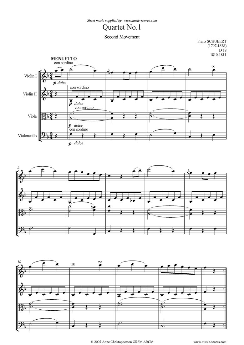 Front page of String Quartet No01 D18: 2nd mt: Minuet and Trio sheet music