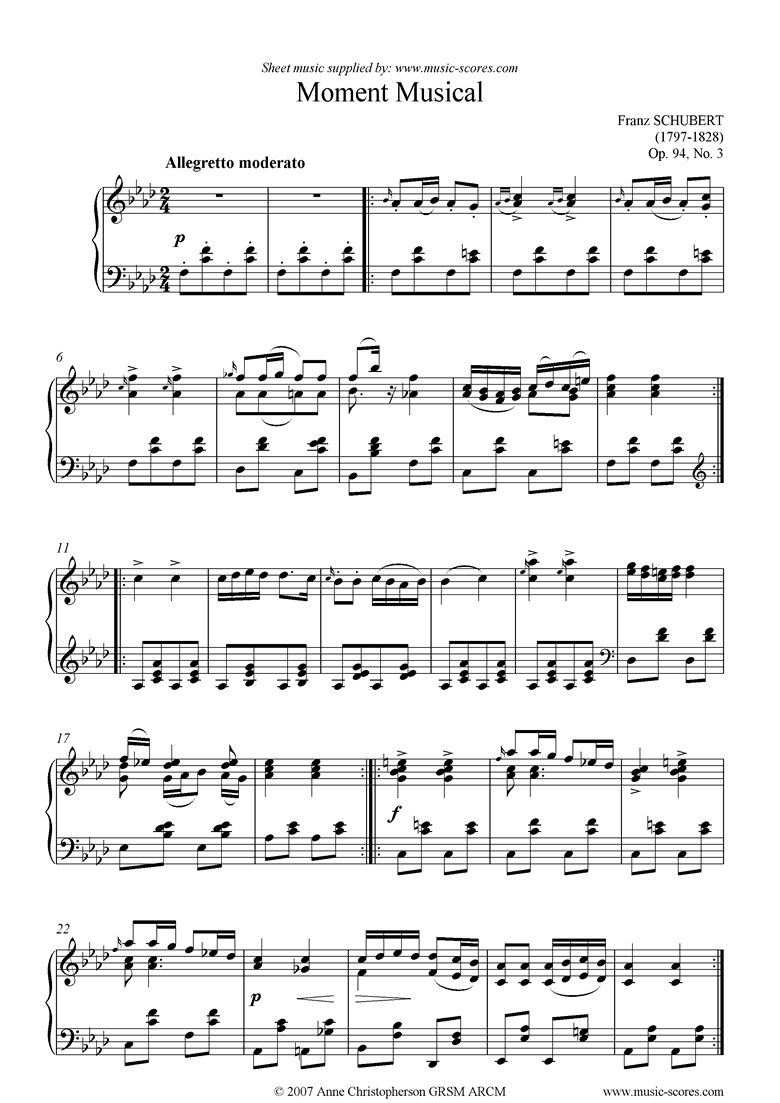 Front page of Moment Musical Op. 94 No. 3 Allegro Vivace sheet music