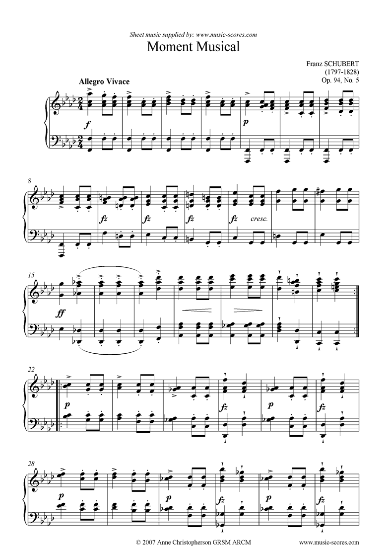 Front page of Moment Musical Op. 94 No. 5 Allegro Moderato sheet music
