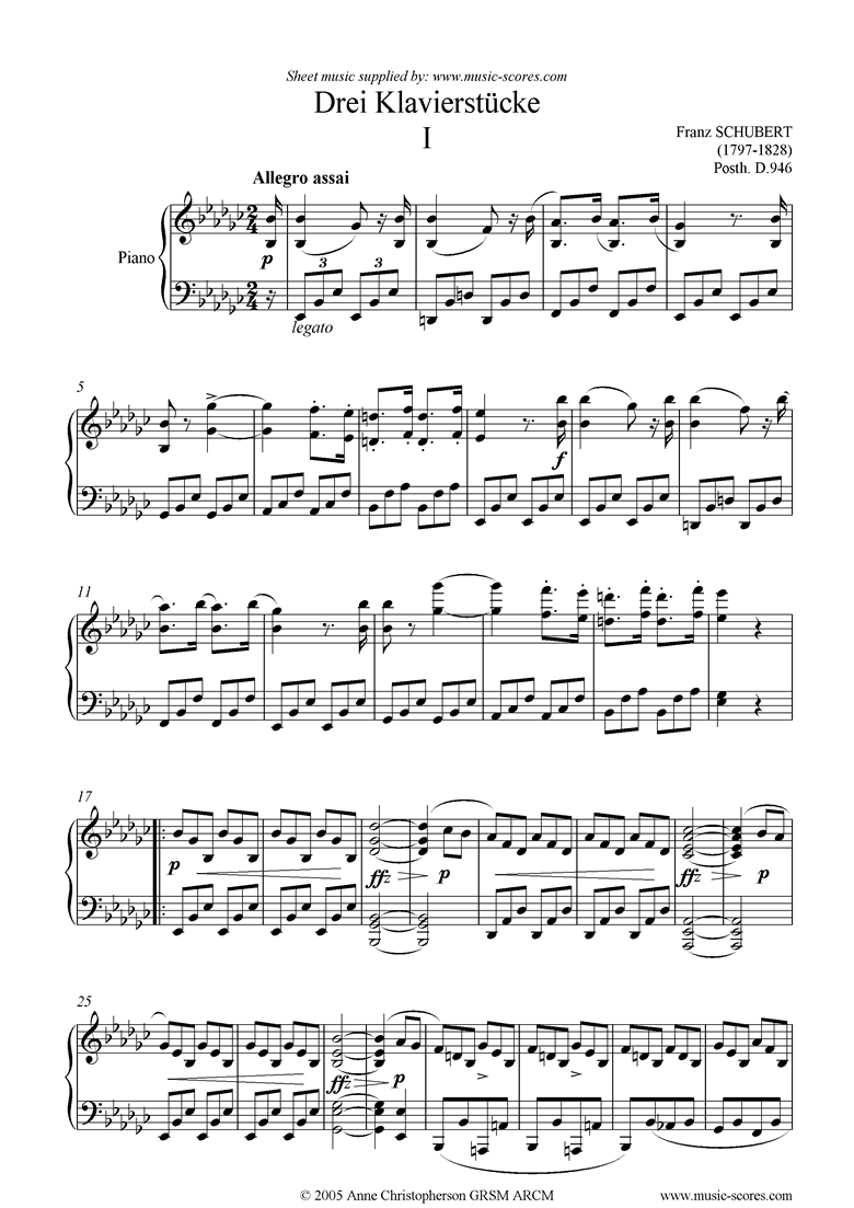 Front page of Drei Klavierstucke, No.1 in Eb minor and major sheet music