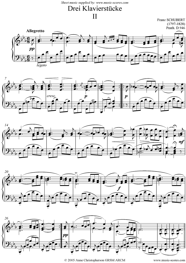 Front page of Drei Klavierstucke, No.2 in Eb sheet music