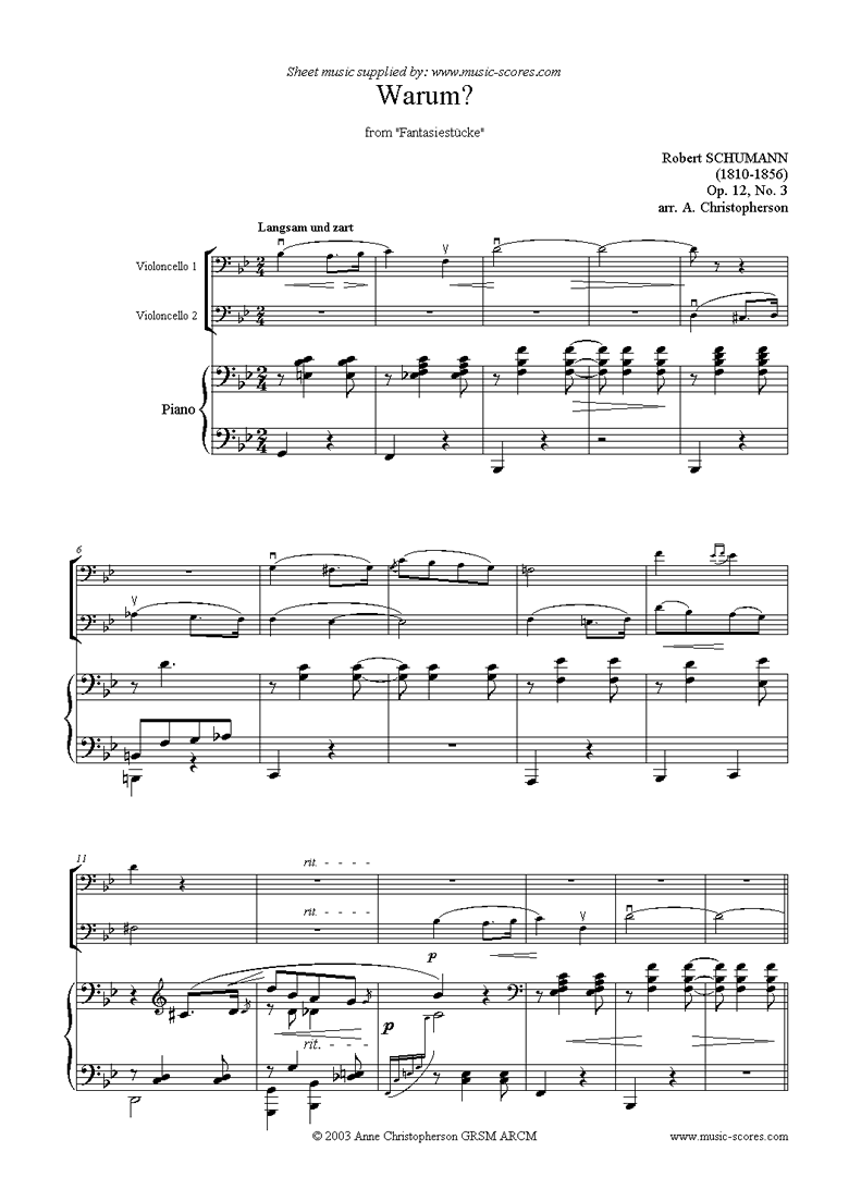 Front page of Op.12: Fantasiestücke: No.3: Warum: 2 Cellos sheet music